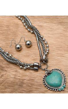 M&F® Silver Three Chain with Turquoise Heart Necklace and Earrings Jewelry Set