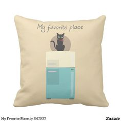 My Favorite Place Throw Pillow by BATKEI #Zazzle #猫 #cat #ネコ #pillow