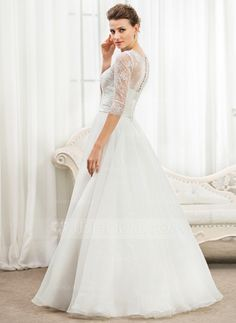 Corte A/Princesa Escote redondo Hasta el suelo Organdí Satén Encaje Vestido de novia con Volantes Bordado Lentejuelas (002056467)