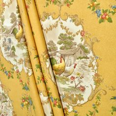 "Designed with a beautiful fabric of P Kaufmann's ""County Fair"" Curry French Country Rooster Chicken scenes on a golden background. Newly custom sewn with a perfectionist quality. I have 47 years experience in designing quality products. French Country Fabric, French Fabric, French Country Cottage, French Country Style, French Decor, French Country Decorating, Textiles, Drapery Fabric, Chair Fabric"