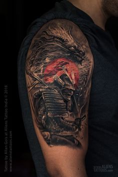Dragon and Samurai Warrior Tattoo by Allan Gois at Aliens Tattoo, India. Japanese Warrior Tattoo, Japanese Hand Tattoos, Japanese Tattoo Designs, Samurai Tattoo Sleeve, Samurai Warrior Tattoo, Warrior Tattoos, Shiva Tattoo Design, Wolf Tattoo Design, Ronin Tattoo