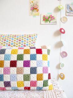 Luella, multi colored geometric patchwork crochet cushion cover, granny chic home decor - READY TO SHIP, by Emma Lamb. via Etsy. Love Crochet, Crochet Motif, Beautiful Crochet, Diy Crochet, Crochet Crafts, Crochet Projects, Crochet Patterns, Crochet Cushion Cover, Crochet Cushions