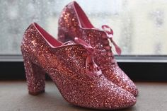 Pink sparkly oxford heels @Natalie Weaver These reminded me of you! Glitter box;)