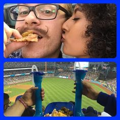 THINK BLUE: Our First Dodger Game Together #Dodgers #La #LaDodgers #Nachos #AsadaNachos #Margaritas #HandlebarMustache #Glasses #Curls #Coachella #Win #Kiss by k3nnythakid