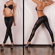 428b7f7188d4 Womens Leggins 2017 New Sexy Leggings Faux Leather with Lace Trim Pants  Leggings Full Length Woman Leggings Hollow Out Hot