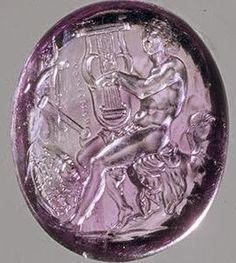 The Treasure of Berthouville Roman amethyst cameo. Gem with Achilles Playing the Cithara, 75–50 B.C.E. Signed by Pamphilos (Greek, active first century B.C.E.) Amethyst intaglio, H: 1.7 x L: 1.4 cm (11/16 x 9/16 in). Bibliothèque nationale de France, Département des monnaies, médailles et antiques, Paris.