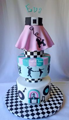 https://flic.kr/p/g5v114 | Sock hop | A donation through the Icing Smiles program for the big sister of a child who passed last year on Christmas Day. This is the second cake I've made for Eva and hope to make many more!