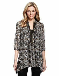 M&S Collection Paisley Print Dippy Hem Blouse-Marks & Spencer