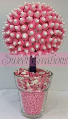 Pink Mushroom Sweet Tree - Sweet Creations photos gallery for Pink Mushroom Sweet Tree Candy Topiary, Candy Trees, Chocolate Bouquet, Chocolate Flowers, Candy Favors, Favours, Pink Mushroom, Sweet Carts, Edible Bouquets