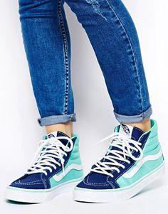 Shop Vans Slim Blue/Navy Trainers at ASOS. Sock Shoes, Cute Shoes, Vans Shoes, Me Too Shoes, Shoe Boots, Shoes Sneakers, Estilo Vans, Vans Sk8 Hi Slim, Sk8 Hi Vans
