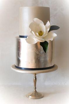 Wedding Dessert Idea: Metallic Wedding Cakes