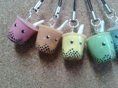 Kawaii Bubble Tea Charm @Danielle Lampert Lampert Lampert Lampert Black can you make these for me!?!?!!?