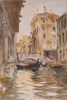 Ponte della Canonica - John Singer Sargent, 1903-07 Isabella Stewart Gardner Museum/ Fenway Court, Boston, MA. http://www.gardnermuseum.org/home  Sargent and Isabella Stewart Gardner shared a lifelong love of Venice. Both visited the city repeatedly and knew it well. This view, as many others, was painted by Sargent from a gondola. Perhaps looking at this picture, Gardner remembered one of her own gondola rides on Venice's canals. #sargent