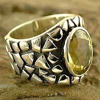 quartz & silver statement ring