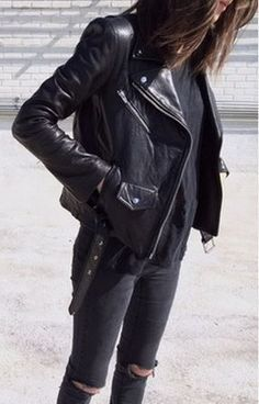 #street #style all-black + leather @wachabuy