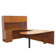 OFD Ultra Laminate Series Bullet U-Shape Set with Hutch - Cherry, Mahogany or Espresso; More pieces available #officefurniture #desk