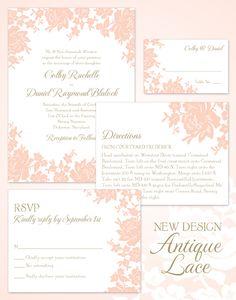 Antique Lace Wedding Invitation Suite