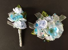 Silk Wrist Corsage & Boutonnière In Light Blue, Turquoise, & White With Green & Light Blue Accents