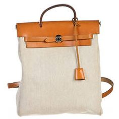 Hermes Camel Toile and Leather Herbag Backpack