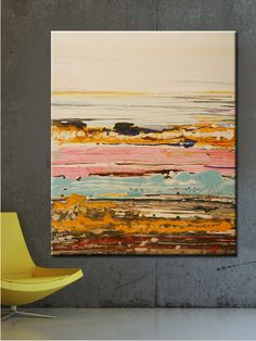 ORIGINAL abstract  painting abstract art landscape painting Contemporary art Original Painting painting on canvas  Modern Abstract pink blue. $375.00, via Etsy.