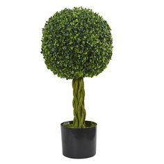 2' Boxwood Ball with Woven Trunk Artificial Tree UV Resistant (Indoor/Outdoor)