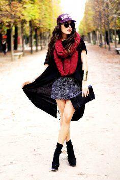 Vintage red infinity scarf