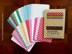 You will receive 1 pack of masking tape stickers of 27 sheets each measuring 6.5 X 13 cm.  Every sheet is of a different pattern and colour, and contains:  2 X 7.5mm lines 4 X 15mm lines 4 X 13mm dots.  Condition: NEW If you like these masking tape stickers, you may want to check out these other designs:  Pastel colours: http://etsy.me/2iyfOKQ  Solid colours: http://etsy.me/2iyeOpX   ---------------------------------------------------  These stickers are perfect ...