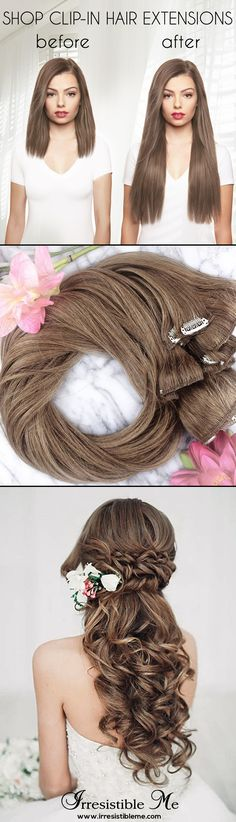 Make a dramatic hairstyle change with Irresistible Me 100% human Remy clip-in hair extensions. Can be cut, dyed and heat styled. Great selection of colors. You can choose the length and weight. Free returns and exchanges, worldwide delivery. Perfect for brides and weddings