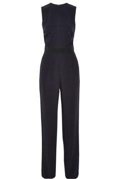 Victoria, Victoria Beckham | Slit-back two-tone crepe jumpsuit | NET-A-PORTER.COM