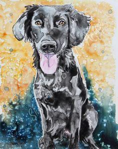 Custom Pet Portraits / watercolor on YUPO / Dogs / Black Lab by Shaina Kay Stinard - Artist. www.shainastinardartist.com Making your photos a work of art! 'Clover' - 8 x 10 watercolor on YUPO paper