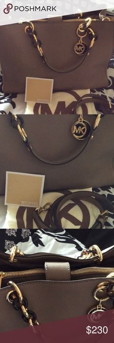 Authentic MK Cynthia  Safiano Leather Beautiful Cynthia Safiano Purse color DK/Dune size large with long strap New whitout tags Gold hardware & include dust bag Michael Kors Bags Totes