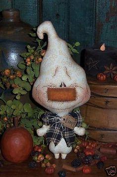 Patti's Ratties Primitive Ghost Boo Halloween Ornie Doll Pattern!