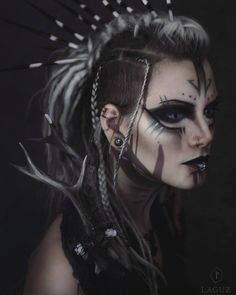 the Wylde hunt Model, make up: Machinefairy (self portrait) photo/post process: Laguz photography Tribal Makeup, Goth Makeup, Fx Makeup, Cosplay Makeup, Costume Makeup, Hair Makeup, Photographie Art Corps, Viking Makeup, Halloween Make Up