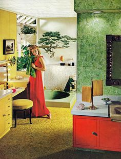 Bathroom design from a Marlite Plastic-Finished Paneling ad, 1970