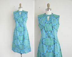 60s dress / turquoise blue print cotton dress by simplicityisbliss, $68.00