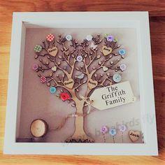 Árbol genealógico enmarcado / familia árbol marco / by bluebirdsflygifts   Etsy