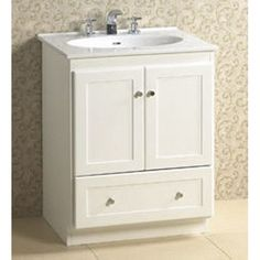 """~$600 special; no sink or top; RonBow 080824-3 Shaker 24"""" Vanity Cabinet with 2 Wood Doors and Bottom Drawer"""