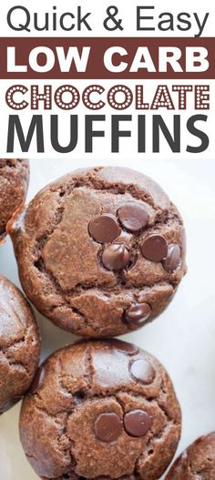 Low Carb Chocolate Muffins | These quick and easy low carb keto muffins are perfect for breakfast, snacks and on the go! They're all high in protein, and most of them are made with almond flour or coconut flour-- healthy, sugar free, gluten free and delicious! Listotic.com Breakfast Snacks, Breakfast On The Go, Breakfast Cookies, Low Carb Breakfast, Breakfast Recipes, Lunch Recipes, Dinner Recipes, Breakfast Ideas, Radish Recipes