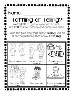 Great practice and review to help students understand the difference between tattling and telling when there is a real problem!Please rate!