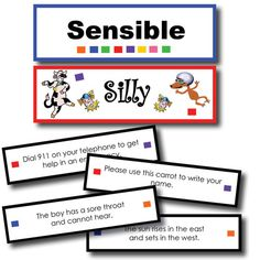 Silly or Sensible Sentences Sorting Game. Can do this in Spanish