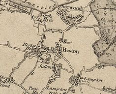"""HESTON, a village and a parish in Brentford district, Middlesex. The village stands near the Grand Junction canal, 1½ mile S of Southall r. station, and 1½ N by W of Hounslow; is irregularly built, yet contains good houses and villas; and has a post office under Hounslow, London W, and a fair on 1 May. The parish contains also the hamlets of Sutton, Lampton, Cranford, Scrattage, and Spring Grove, and parts of the hamlet of North Hyde and the town of Hounslow. """