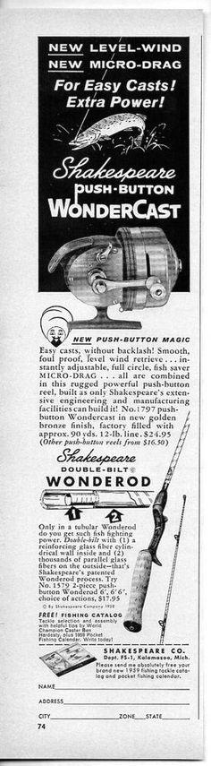 1959 Vintage Ad Shakespeare Wondercast Fishing Reels & Wonderods Rods #Paper