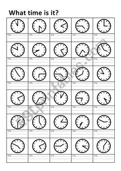 The student must answer the main question. What time is it? Look at the clocks and answer the time in full. English Phonics, English Grammar Worksheets, English Resources, Learn English Grammar, English Activities, English Language Learners, Education English, English Lessons, English Vocabulary