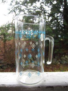 Vintage Pyrex Glass Pitcher Turquoise White by corrnucopia on Etsy