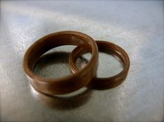 Wood Wedding Bands Walnut Bent Wood Ring Set by SevenValleyHill, $145.00 - wow! Another great non metal option!!!!