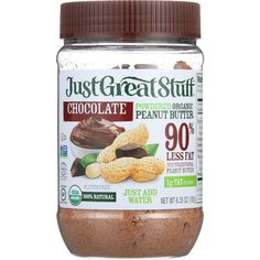 Just Great Stuff Peanut Butter - Organic - Chocolate - Powdered - oz - case of 12 - Jar Size Options:Small: Jar - 15 ServingsLarge: Jar - About 56 ServingsJust Great Stuff Chocolate Powdered Peanut Butter is a healthier alternative to Chocolate Powder, Organic Chocolate, Healthy Chocolate, Chocolate Peanut Butter, Peanut Butter Brands, Organic Peanut Butter, Peanut Powder, Post Workout Snacks, Chocolate Spread