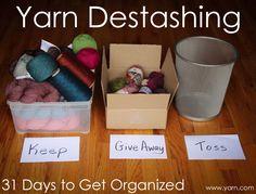 31 Days to Get Organized: Yarn Destashing Tips