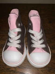 d91fd47a80836e Converse All Star High Top Shoes Brown Pink Toddler Infant Kids Girl Size 4   fashion