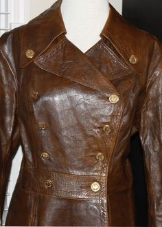 Vintage French Military Style Leather Coat by NeedfulVintageUSA