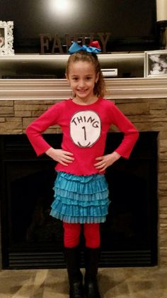 "Thing 1 to celebrate Dr. Seuss' Birthday! Outfit put together from clothes we already had- ""Thing 1"" is written in sharpie on white felt, pinned to red shirt. Super easy!!!"